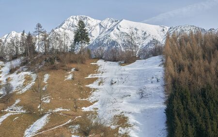 snow and mountain landscape in winter