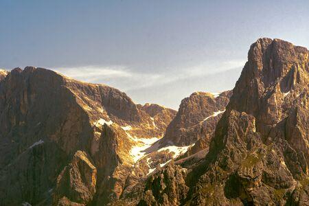 glacier on rocky mountain in summer season
