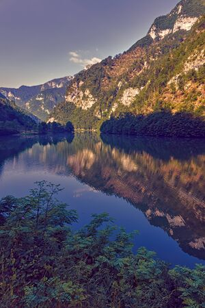 landscape lake in the mountain with reflection Stock Photo