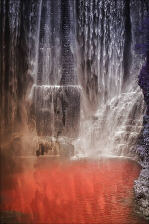 scenic waterfalls in the mountain Imagens