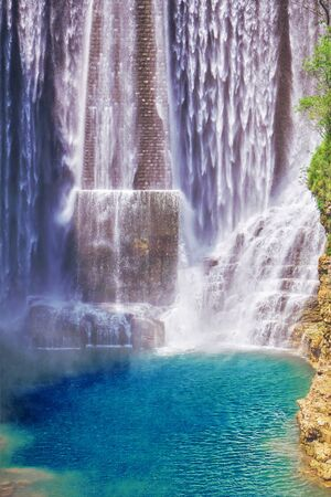 scenic waterfalls in the mountain Banco de Imagens