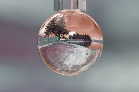 landscape lake in the glass bowl