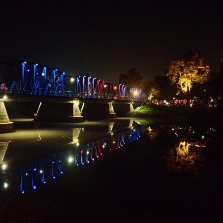 iron: Iron bridge at night in chiangmai ,thailand
