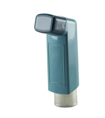 Asthma inhaler isolated on a white  photo