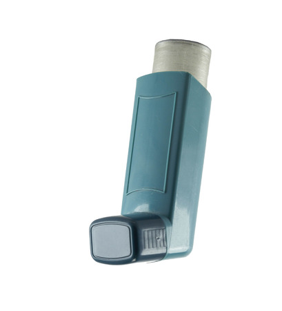 Asthma inhaler isolated on a white Stock Photo