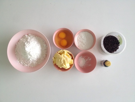 baking powder: Raw materials for cookies. flour, butter, eggs, baking powder, sugar cookie ICING and chocolate chips.