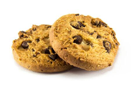 cikolatali: Chocolate chip cookies on white background.
