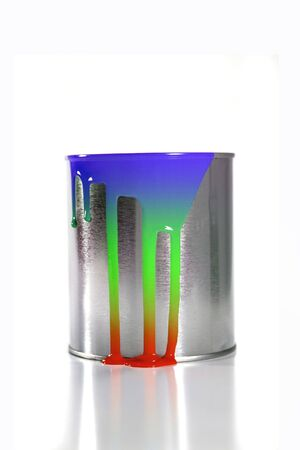 paintbucket: a messy colorful paint bucket