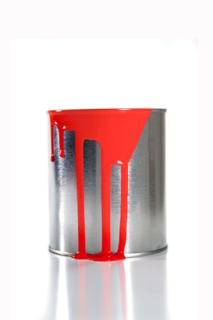 messy: a messy red paint bucket Stock Photo