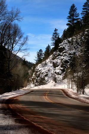 winter road: snowy mountain road