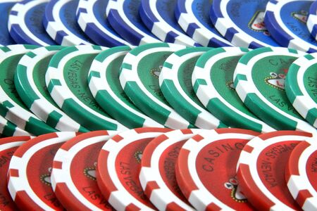 Rows of poker chips Stock Photo