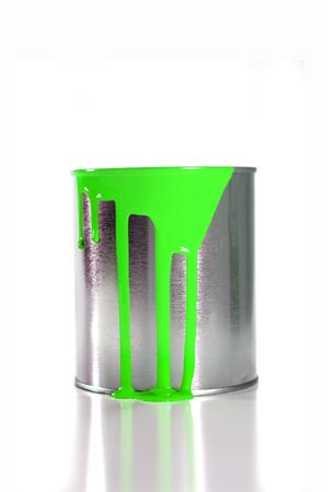 paintbucket: a messy greenpaint bucket
