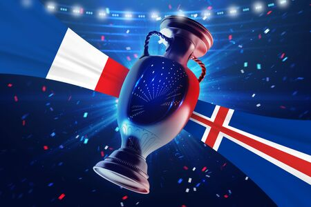 real trophy: Cup on the football field with flag France vs Iceland. Concept sport. 3d illustration. Stock Photo