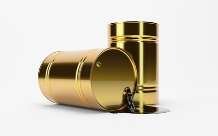 iraq: Gold Metal Oil Barrel on White Background, Industrial Concept. WTI, Brent.