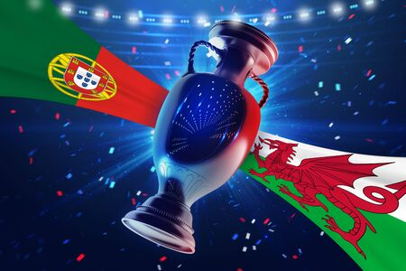 real trophy: Cup on the football field with flag Portugal vs Uele. Concept sport. 3d illustration. Stock Photo