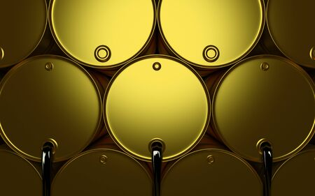 3D illustration of gold Metal Oil Barrels, Industrial Concept. OPEC Stock Photo