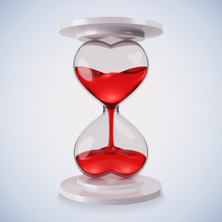 Hourglass heart. Red. 3d render.