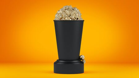 Golden popcorn in zwarte kop. 3d render.