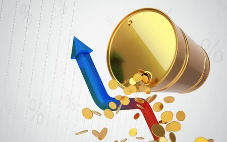 brent: Golden Barrel with chat and coins. Rising oil prices. Out of the Crisis. Stock Photo