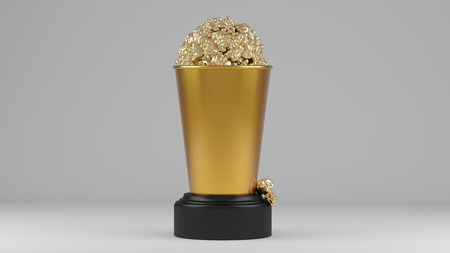 Golden popcorn in gouden beker. 3d render. Stockfoto