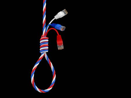 shadowing: Ethernet cable. Gallows. 3D render Stock Photo