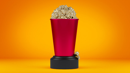 Golden popcorn in roze cup. 3d render.
