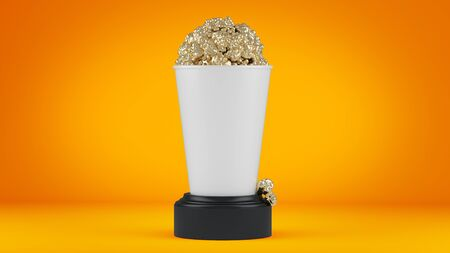 Golden popcorn in witte kop. 3d render.