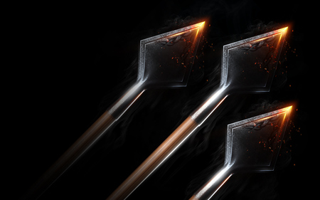 Blazing flying arrows on black background isolated. Concept. 3d render
