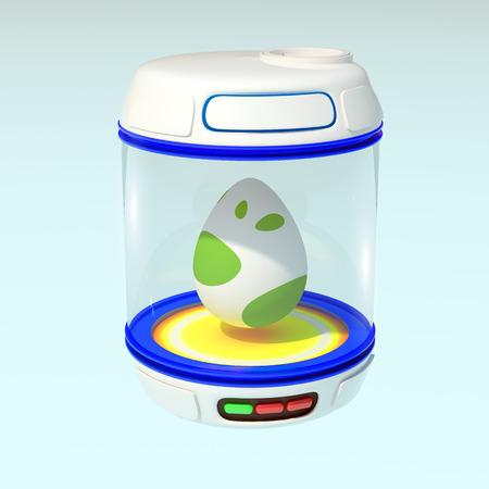 dinosaur egg: Egg blue incubator. 3d render