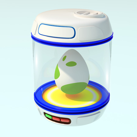 Egg blue incubator. 3d render