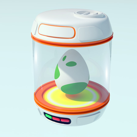 Egg in orange incubator. 3d render Stock Photo