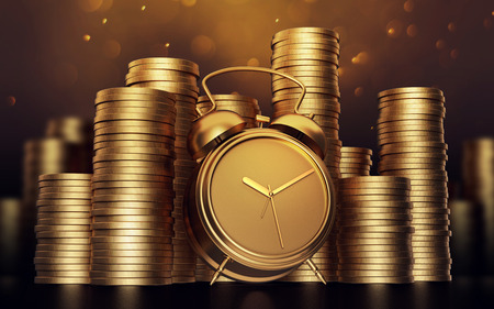 Alarm clock with golden coins .3d render Standard-Bild