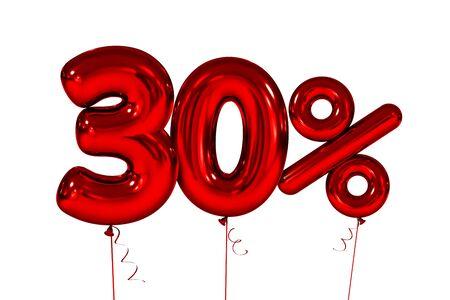 Dertig opblaasbare figuren met procent rood. 3d render Stockfoto - 84995898