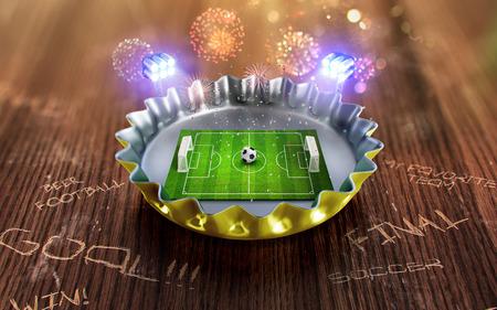 노란색 맥주 뚜껑에 축구 선수권 대회입니다. 3 차원 렌더링 스톡 콘텐츠