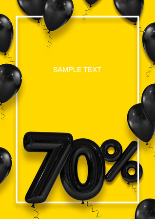 Poster template for sales. Seventy percent discount. Inflatable balls in a white frame on a yellow background. International Paper Sizes. 3d render