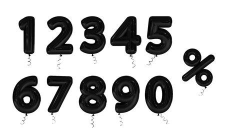 Set Black inflatable digit. 3d render