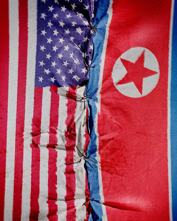 Two flag. United States - North Korea relations. Communism and democracy