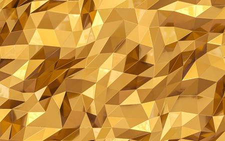 Polygonal golden background. 3d render 免版税图像