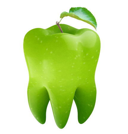 Tooth in the form of an apple. 3d render Standard-Bild