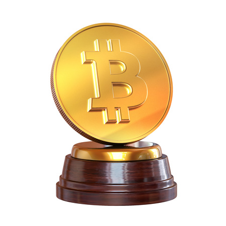 The trophy on the Gold Bitcoin. Isolated on white background. 3d render