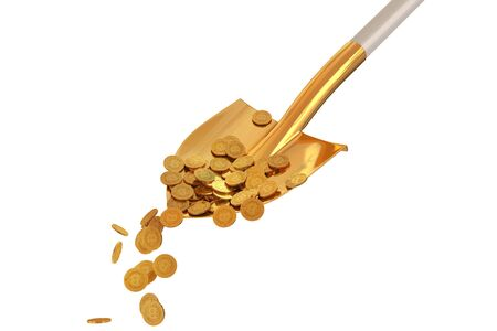 Bitcoin gold coins in a golden shovel on isolated background. 3d render