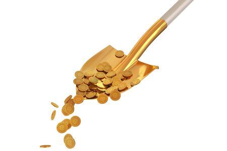 Bitcoin gouden munten in een gouden schop op geïsoleerde achtergrond. 3d render Stockfoto - 84565480