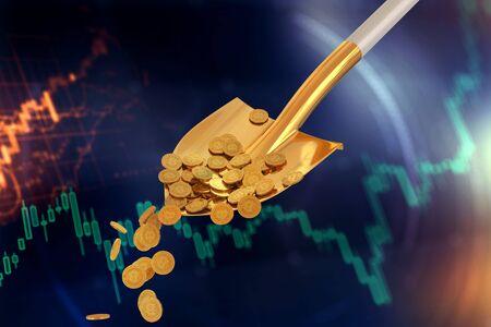 Bitcoin gold coins in a golden shovel on a dark background. 3d render 免版税图像