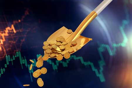 Bitcoin gold coins in a golden shovel on a dark background. 3d render Standard-Bild