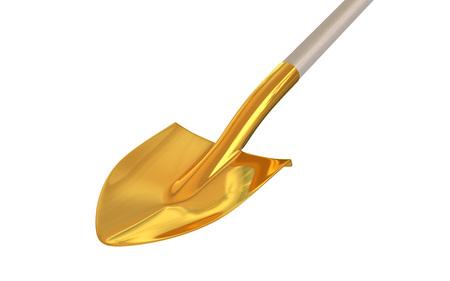 Golden shovel on isolated background. 3d render