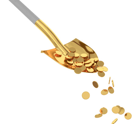 Gold coins in a golden shovel on isolated background. 3d render