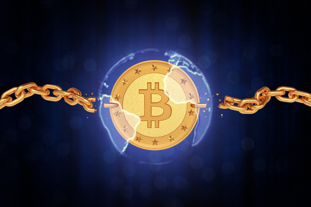 Golden coin bitcoin in the sphere of the earth with broken chains. The dark background of quotations. 3d render