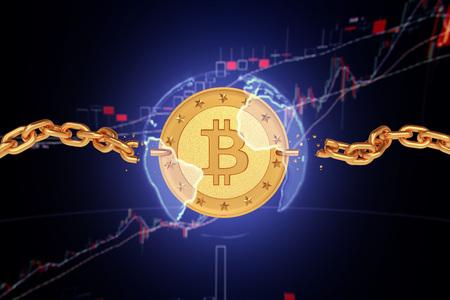 Gouden munt bitcoin in de sfeer van de aarde met gebroken kettingen. De donkere achtergrond van citaten. 3d render Stockfoto - 84417814