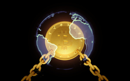 Golden coin bitcoin in the sphere of the earth with broken chains. The dark background. 3d render
