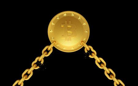 Golden coin bitcoin with broken chains. Dark isolated background. 3d render